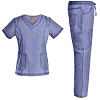 Women Medical Uniforms V Neck Scrubs Set - Jeanish Washed 9 Pockets Fashion Doctor Nursing Workwear Women Scrubs JS1601