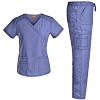 Mock Wrap Scrubs Set Medical Uniforms - Jeanish Washed Workwear with 10 Pockets JS1603
