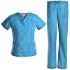 Rib Neck Panel Nursing Scrub Set - Women Slim Medical Uniforms Scrubs Jeanish JS1606
