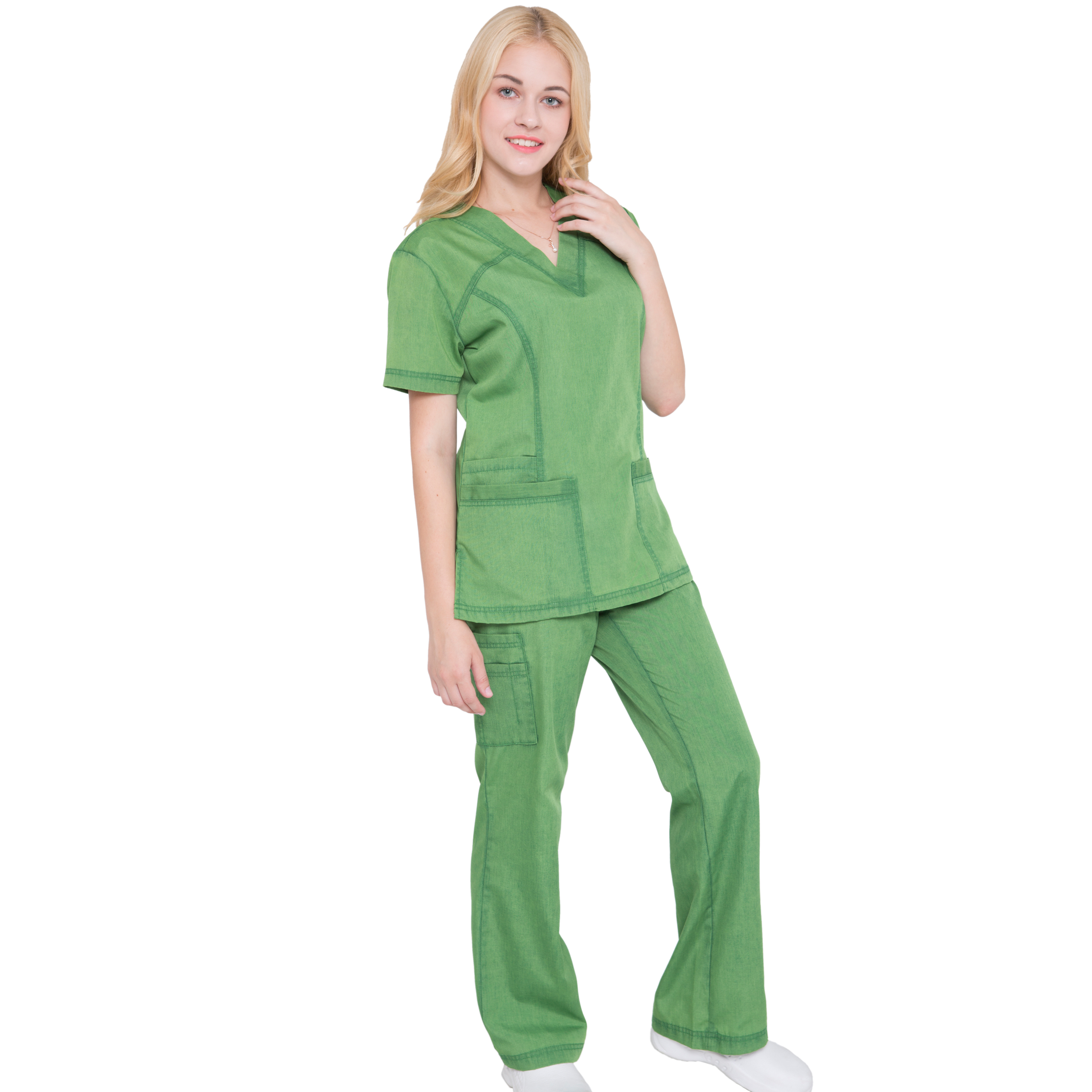 Women Scrub Set Medical Uniforms Top and Pants Jeanish Washed Superior Softness JS1605