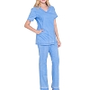 Jeanish Washed Mock Wrap Neck Stretch Scrubs Set - Women Scrubs Soft Medical Uniforms Nursing Scrubs  JS1608