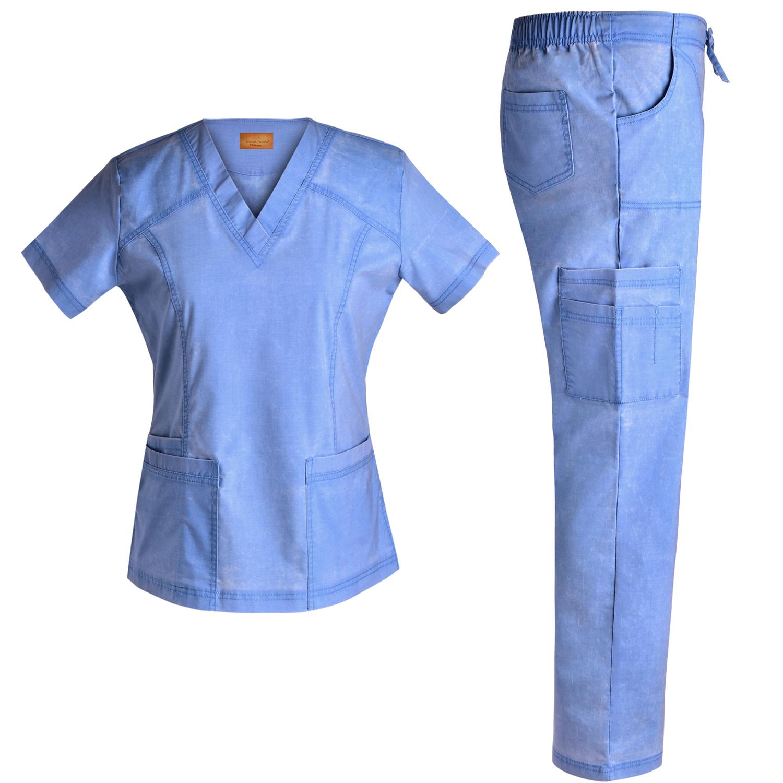 8b633b1d2b9 Jeanish Washed V Neck Stretch Women Scrubs Set - Multiple Pockets ...