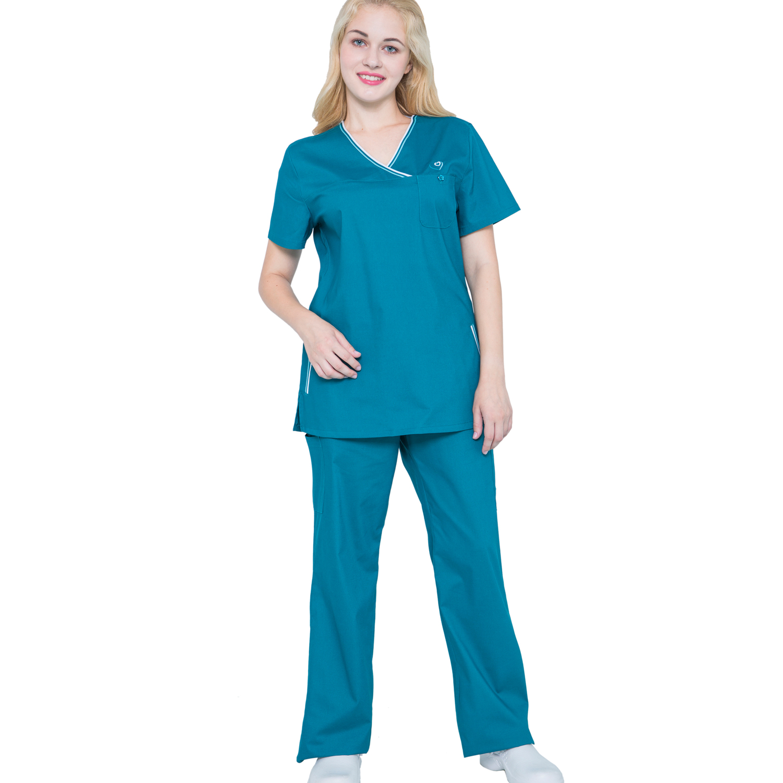 uk availability f9542 235a5 Women Stretch Nursing Scrubs Set Nurse Cheap Medical Scrubs JY1603