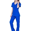 V Neck Nursing Women Scrubs Set - Pandamed Doctor Uniform Slim Scrub Top and Pants JY1607