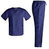 Basic V Neck Nursing Stretch Scrubs - Medical Scrubs for Men Stretch Plus Size Uniforms Set Top and Pants Scrubs Set JY7301