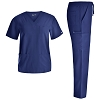 Unisex 4 Way-Stretch Nursing Scrubs Set - Medical Uniform Women and Men Nurse School Scrubs Set V Neck Top and Cargo Pants JYC336
