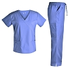 Women Scrubs Set Medical Scrubs - Pandamed Stretch scrubs Mock Wrap Scrubs top Scrubs Pants Multiple Pockets TCS3101