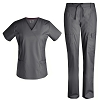 Women Scrubs Set Medical Scrubs - Pandamed Stretch scrubs Mock Wrap Nursing Scrubs Top Drawstring Cargo Pants TCS3103