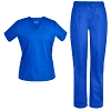 Pandamed Crossover V-neck Stretch Scrubs Set 10 Pockets Hospital Uniforms TCS3104