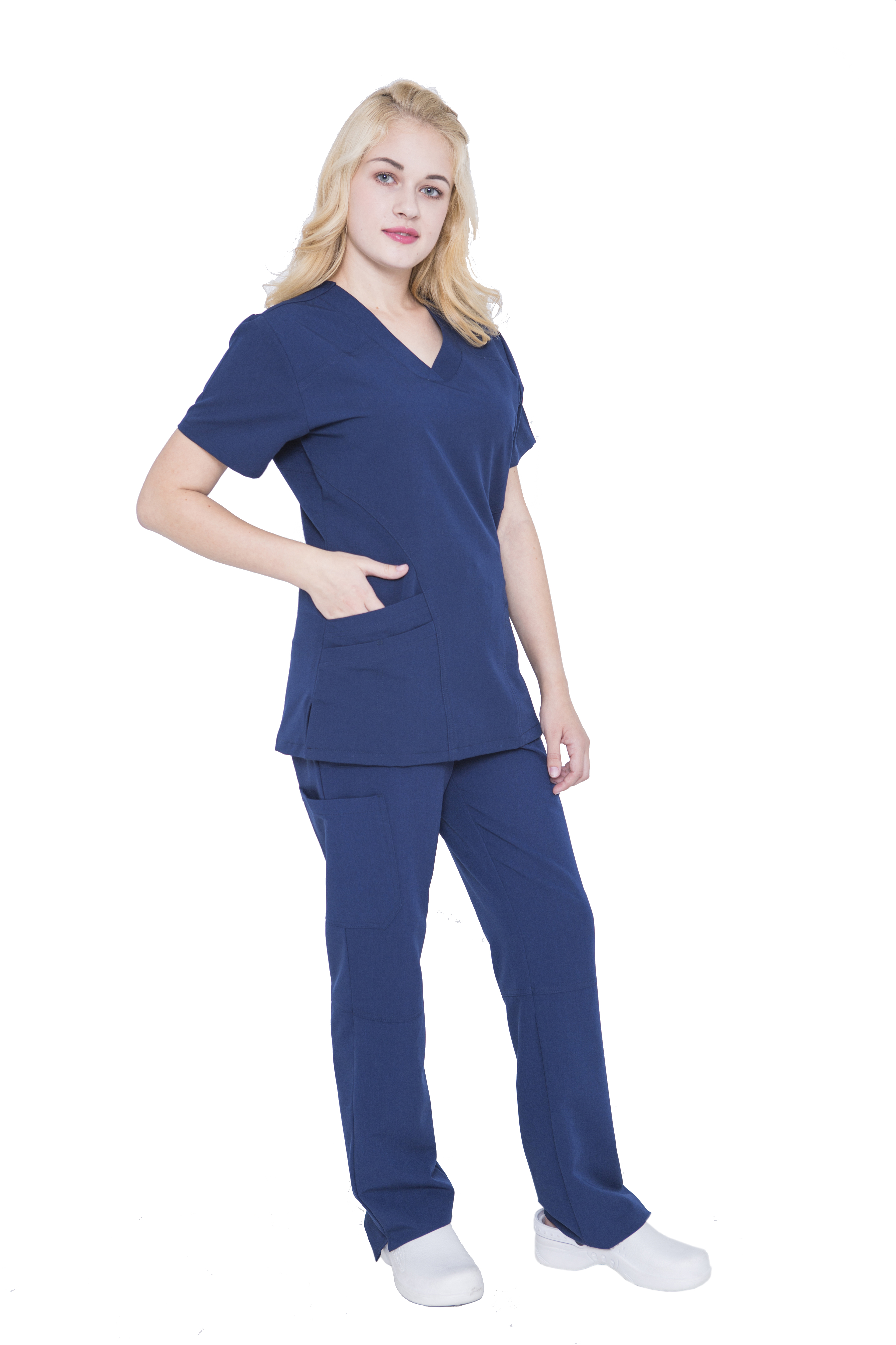 Women V Neck Stretch Scrubs Set - Pandamed Women Medical Uniforms Scrubs TRS3104